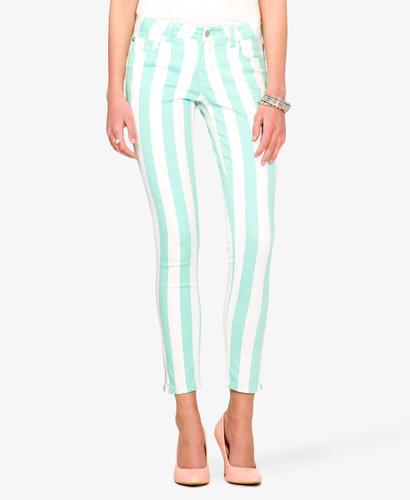 FOREVER 21 Verticle Stripe Skinny Jeans