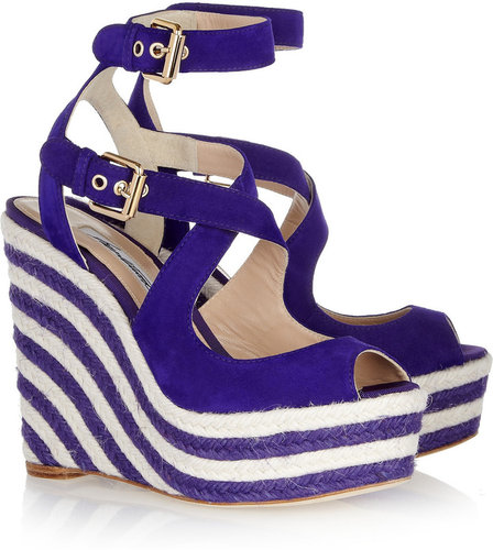 Brian Atwood April suede espadrille wedge sandals