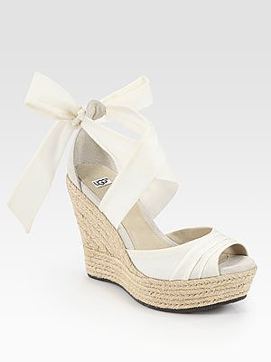Lucianna Tie-Up Silk and Suede Espadrille Wedge Sandals