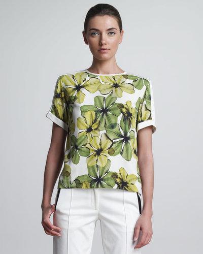 Jason Wu Flower-Print T-Shirt, Lime/Ivory