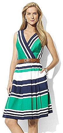 Lauren by Ralph Lauren Dress Crossover Pleated Dress