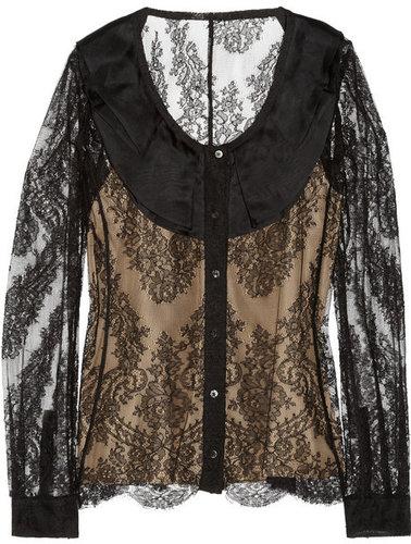 Valentino Roma Organza-collar lace blouse