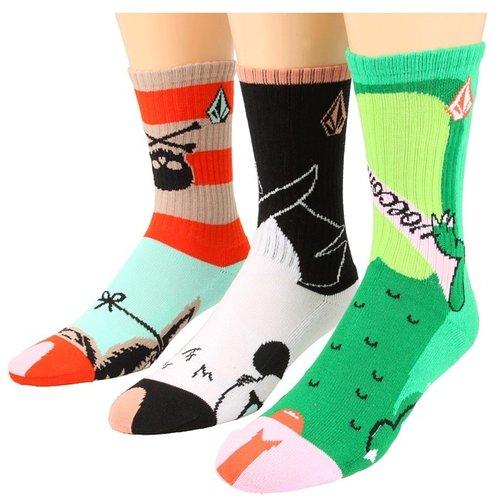 Volcom - Corinne's Creatures FA Sock Puppet 3-Pair Pack