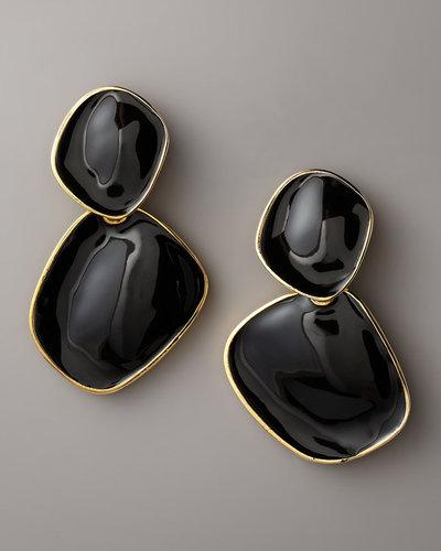 Kenneth Jay Lane Enamel Drop Earrings, Clip