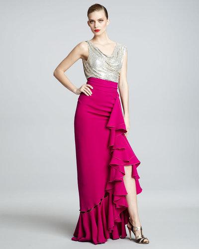 Naeem Khan Metallic-Bodice Combo Gown