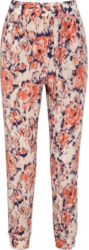 Tucker Printed silk straight-leg pants