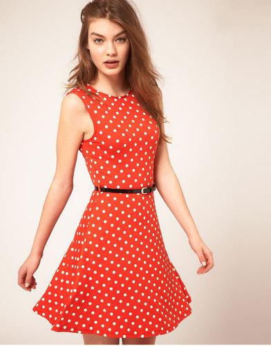 ASOS Sleeveless Skater Dress With Belt In Spot Print