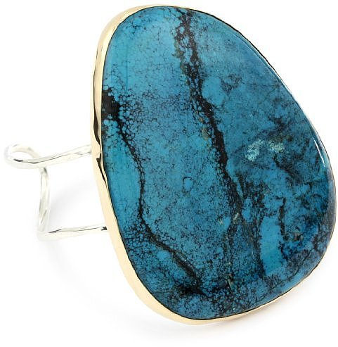 "Melissa Joy Manning ""Neptune"" 14k Gold and Silver Turquoise Cuff Bracelet"