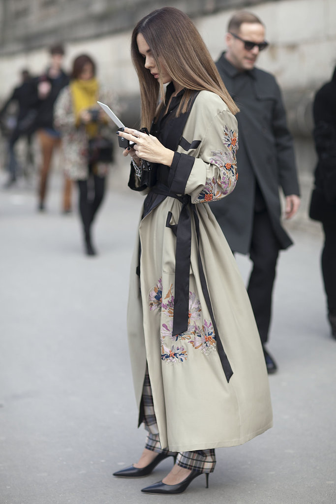 This luxurious kimono-style coat was a showstopper on the street.