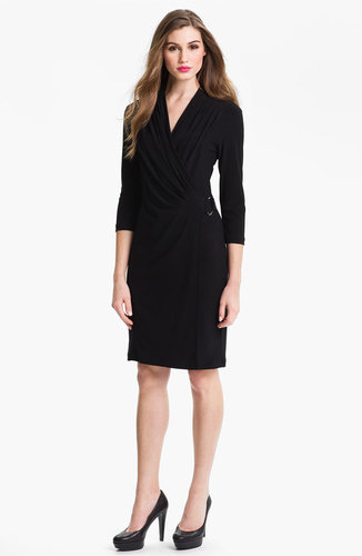Alex & Ava Pleated Faux Wrap Dress