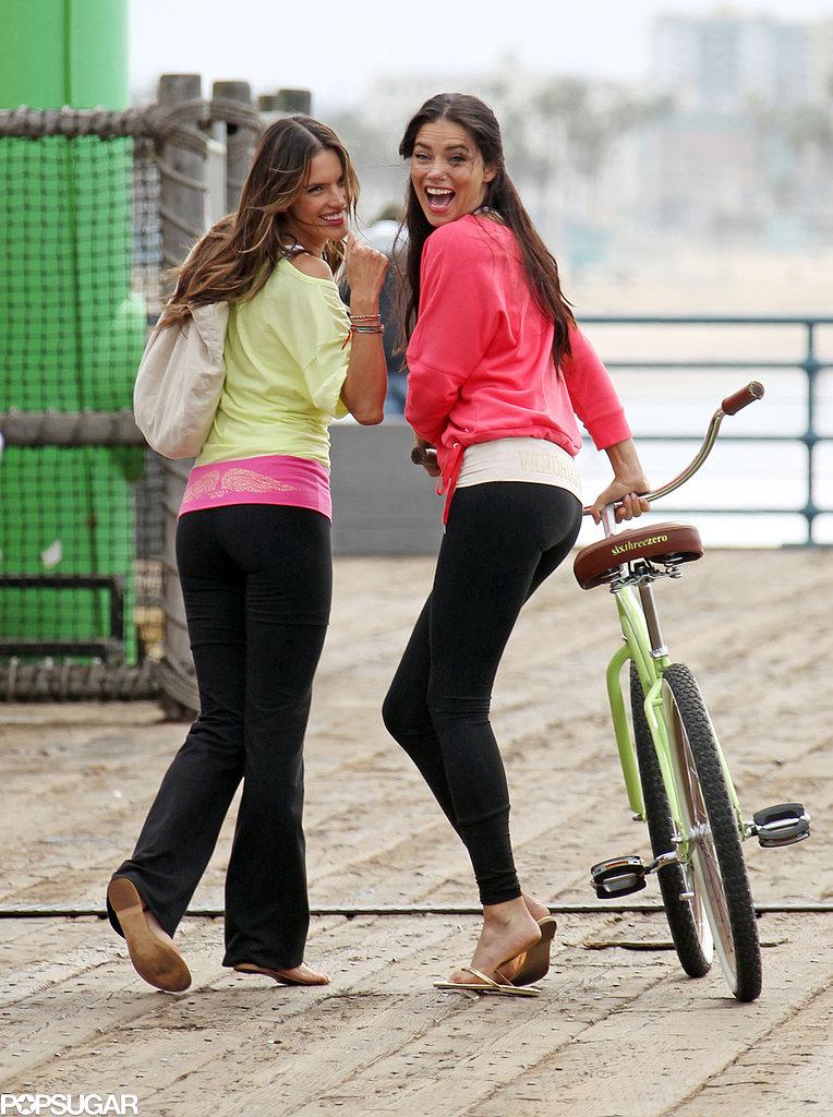 Alessandra Ambrosio and Adriana Lima wore workout gear.