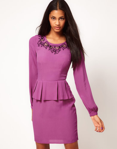 ASOS Peplum Dress With Bow Embroidery
