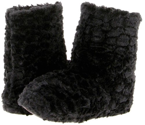 Anne Klein - Ripple Fur Slouchy Indoor Slipper Boot (Black) - Footwear