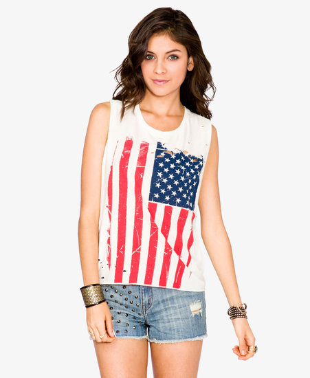 FOREVER 21 American Flag Muscle Tee
