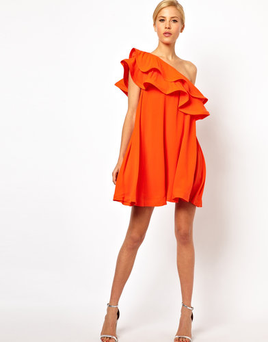 ASOS Swing Dress With Extreme One Shoulder Frill