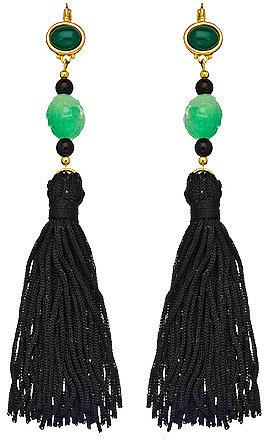 Kenneth Jay Lane Black and Green Tassel Shoulder Duster Earrings