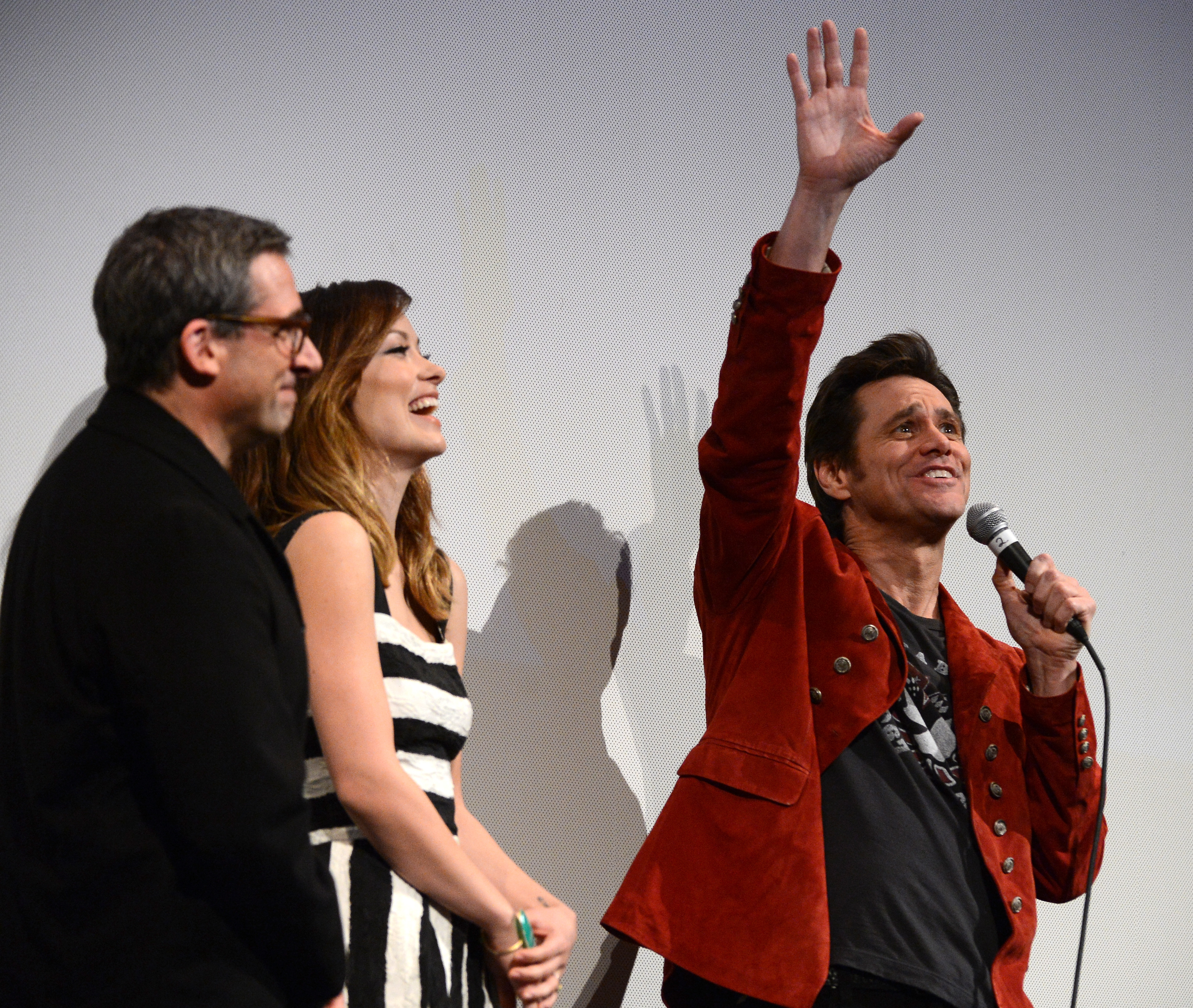 Jim Carrey took the mic next to Olivia Wilde and Steve Carell at the Q&A for The Incredible Burt Wonderstone.