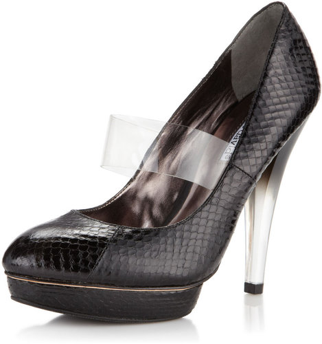 Charles David Clear Snake-Embossed Strap Pump, Black