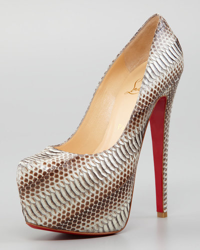 Christian Louboutin Daffodile Snakeskin Red Sole Platform Pump, Stone