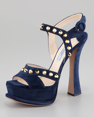 Prada Studded Suede Ankle-Wrap Sandal, Navy