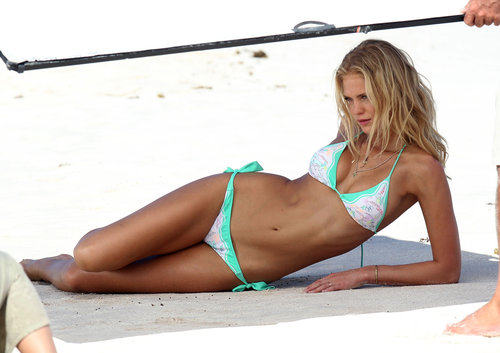 In February, Erin Heatherton modeled a bikini during a Victoria's Secret photo shoot in St. Barts.