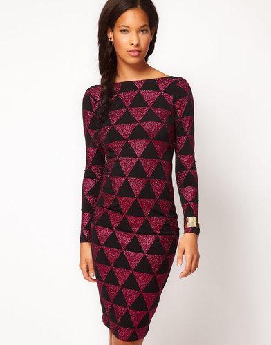 ASOS Body-Conscious Midi Dress in Glitter Print