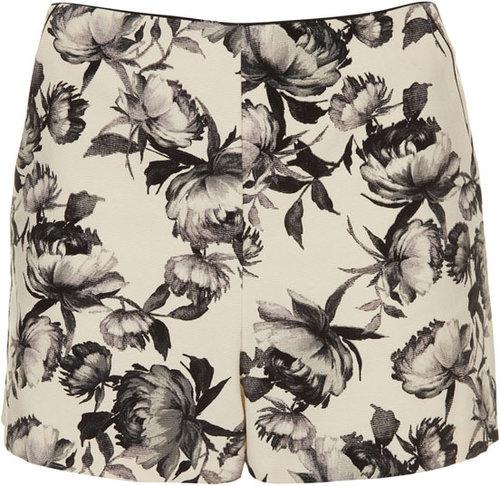Topshop 'Mono Floral' Print Shorts