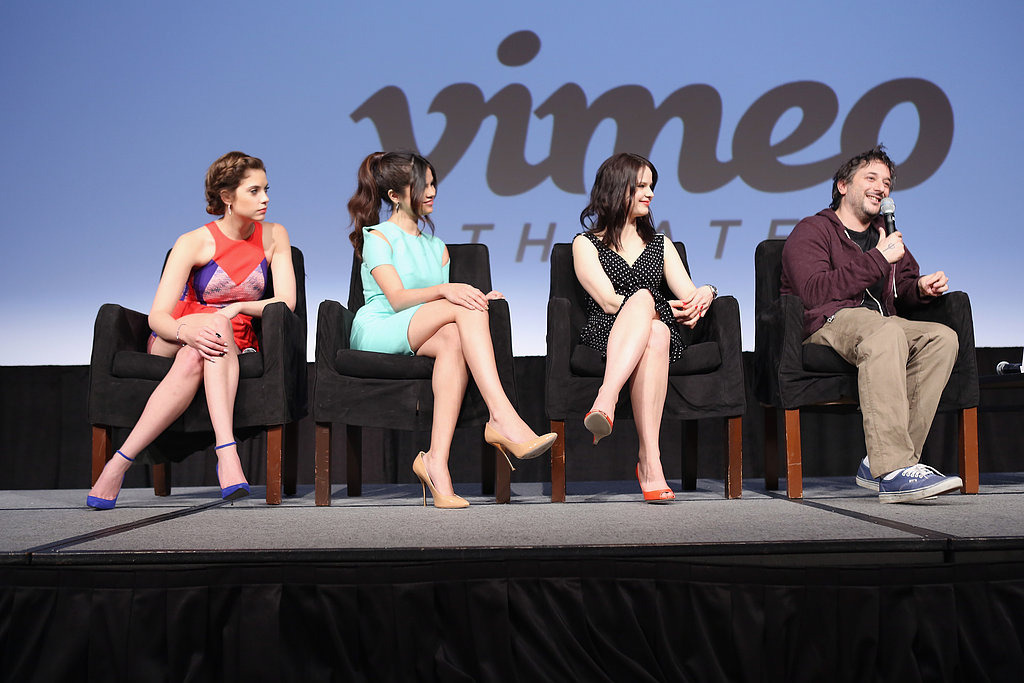 Ashley Benson, Selena Gomez, Rachel Korine, and Harmony Korine answered questions at the Spring Breakers press conference.