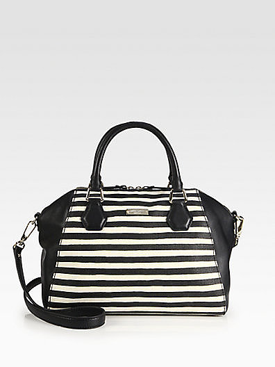 Kate Spade New York Catherine Pippa Striped Mixed-Media Satchel