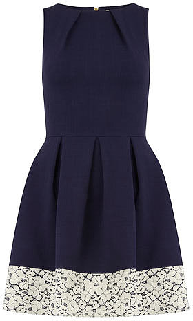 Navy contrast hem pleat dress