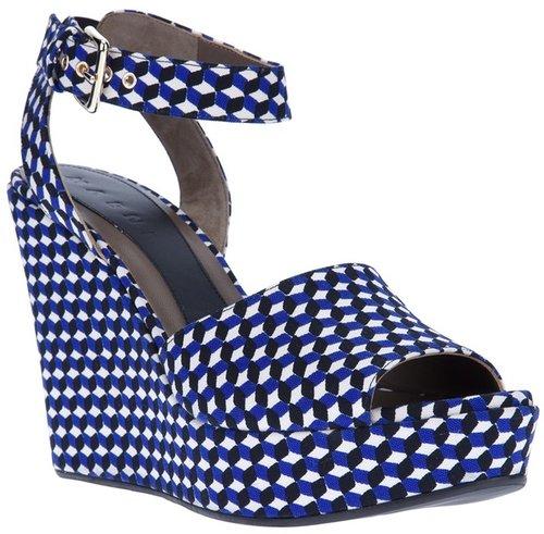 Marni geometric print sandal wedge