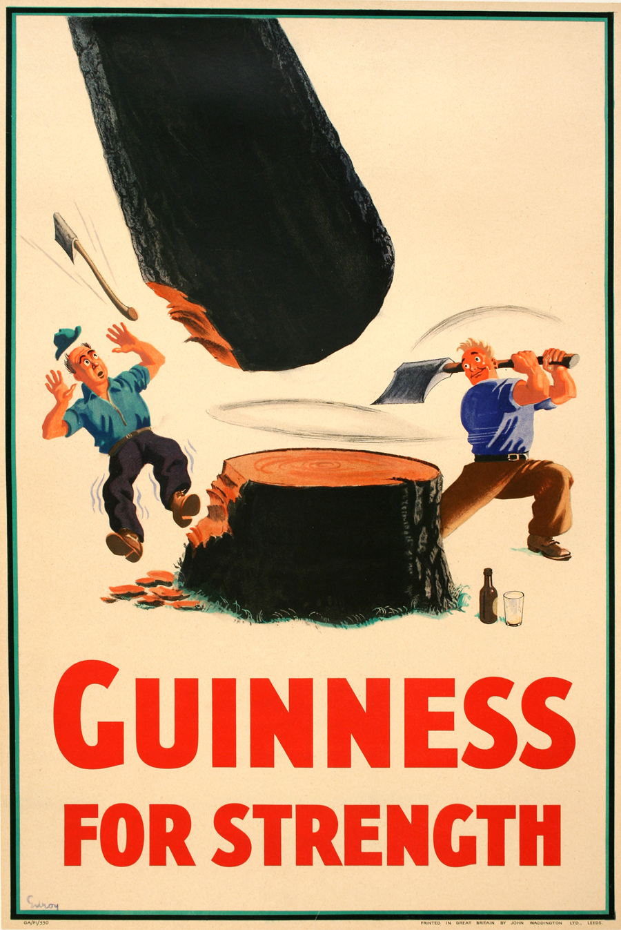 """""""Guinness for strength"""" became a popular tagline in the 1930s and pictured people performing incredible feats of strength thanks to the brew."""