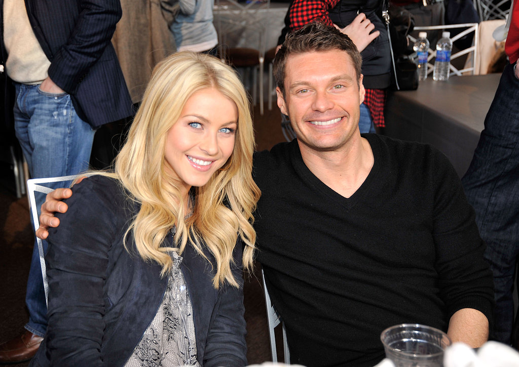 Ryan Seacrest and Julianne Hough were all smiles at a February 2011 Super Bowl party in Texas.