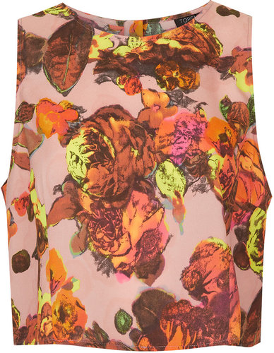 Sleeveless Floral Print Shell Top