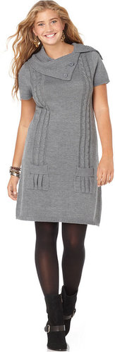 Love Squared Plus Size Dress, Short Sleeve Cable Sweaterdress