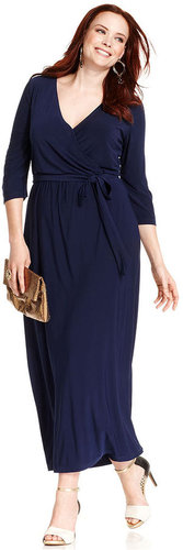NY Collection Plus Size Dress, Three-Quarter-Sleeve Faux-Wrap Maxi