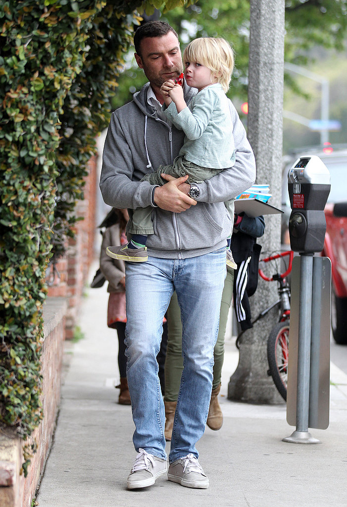 Liev Schreiber carried son Kai out to dinner in LA on Saturday.