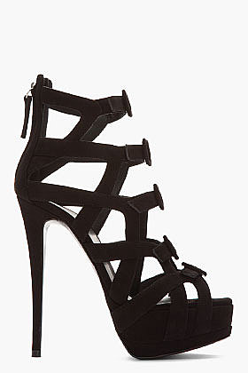 GIUSEPPE ZANOTTI Black suede cut-out buckled Jake Heels