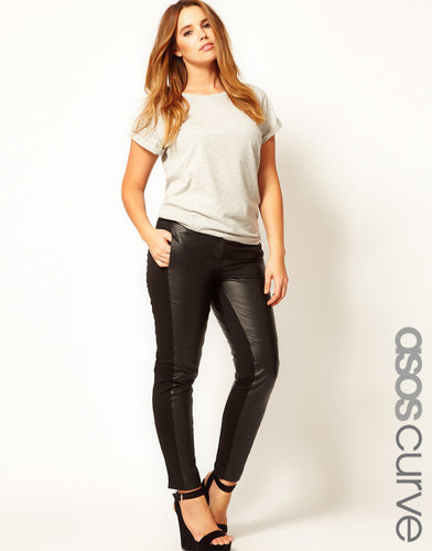 ASOS CURVE Exclusive Leather Panelled Pants