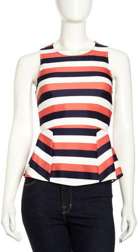 Romeo & Juliet Couture Striped Sleeveless Peplum Blouse, Lime/Coral/Ivory