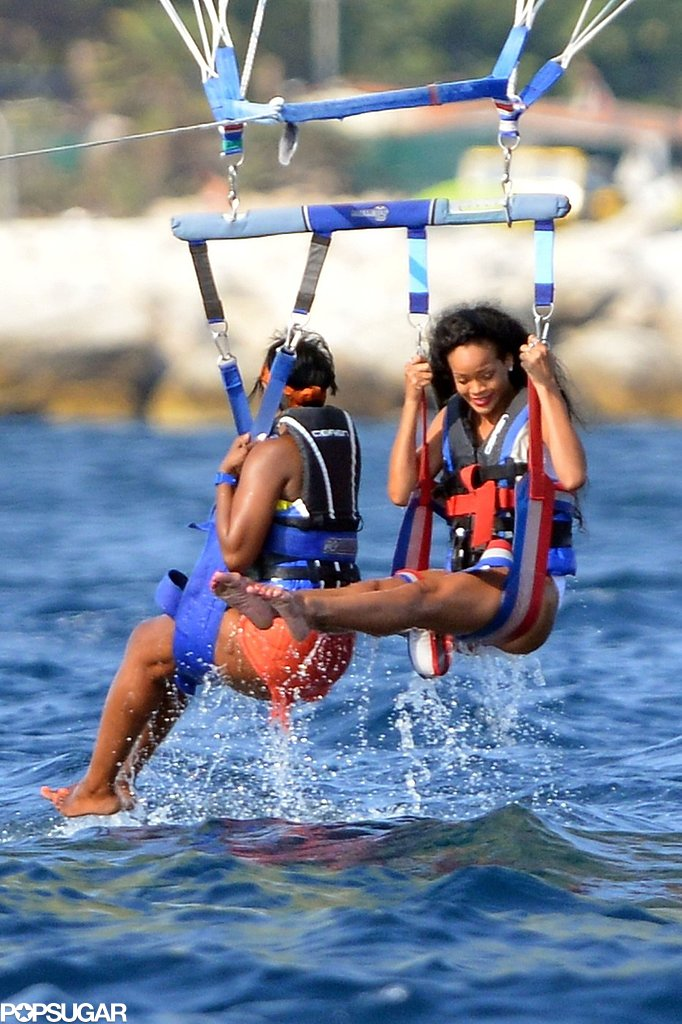 Rihanna went parasailing with friends in St.-Tropez in July 2012.