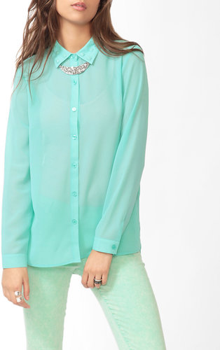 FOREVER 21 Studded Collar Blouse