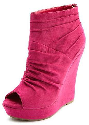 Sueded Peep-Toe Wedge Bootie