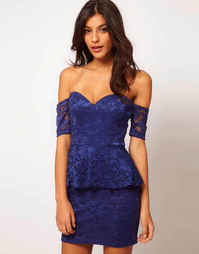 ASOS Off Shoulder Lace Dress with Peplum