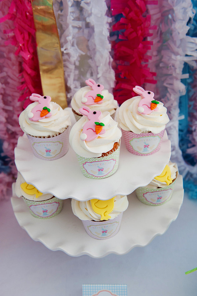 Pink Bunny and Yellow Chick Cupcakes