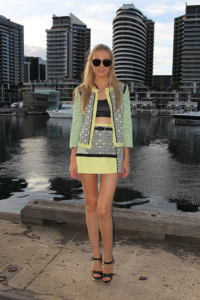 We can't get enough of her neon hues or geometric prints. If crop tops aren't your thing, just wear a tank instead.