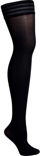 Fogal Black Velour Opaque Stay Up Thigh-High Stockings