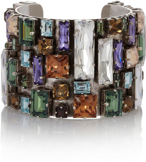 Philippe Audibert Bouquet silver-plated Swarovski crystal cuff