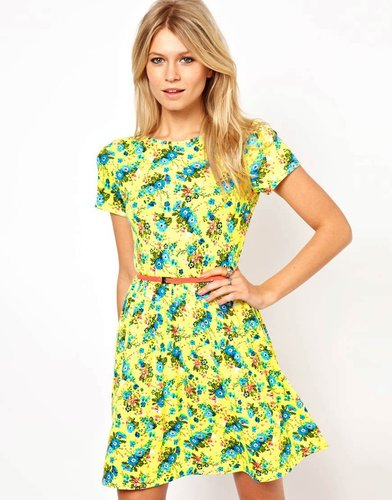 ASOS Skater Dress In Bright Neon Floral With Belt