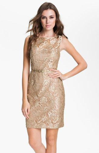 Maggy London Back Cutout Metallic Lace Sheath Dress